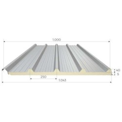 Griechische Coibentate Panel Alutech Dach Grau Weiß Alubel - 1