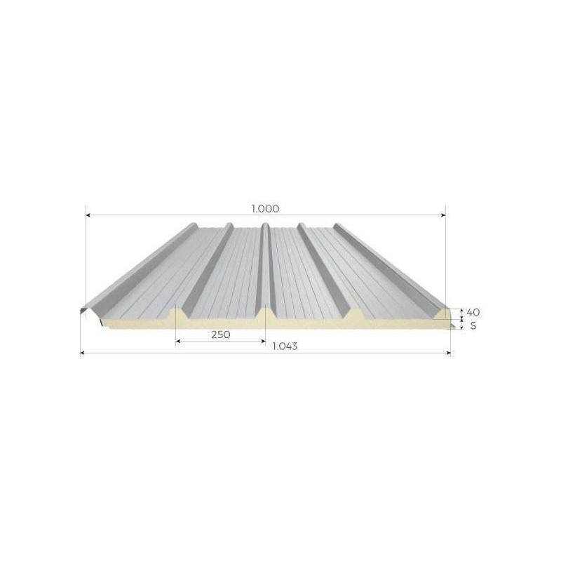 Pannello Coibentato Grecato Alutech Dach Bianco Grigio Alubel - 1