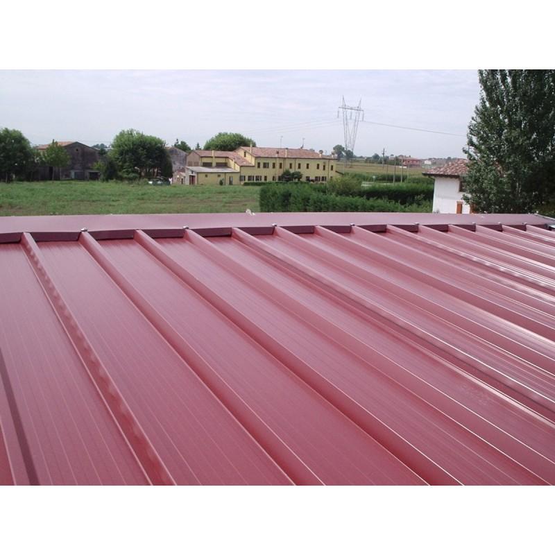 Pannello Coibentato Grecato Declassato Alutech Dach Rosso Siena Alubel - 1